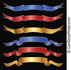 Set of ribbons in gold red and blue