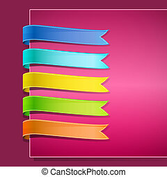 set of ribbons on pink background