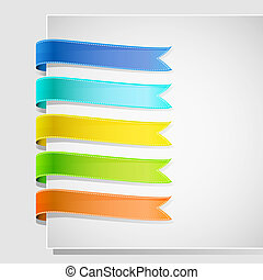 set of ribbons on white background