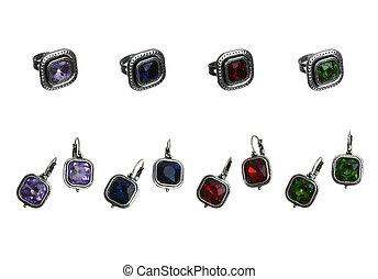 set of rings and earrings