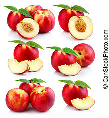 Set of ripe peach fruits with green leaves isolated
