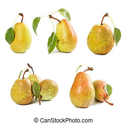 Set of ripe pears