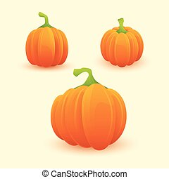 Set of Ripe Pumpkins Icon With Backgrounds