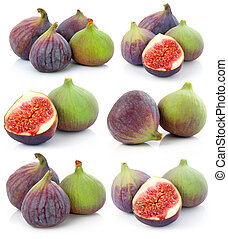 Set of Ripe sliced purple and green fig fruit isolated on...
