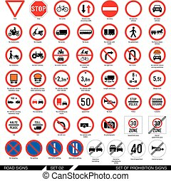 Set of road signs.