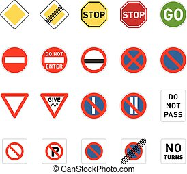Set of road signs isolated on white