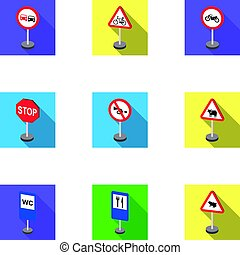 Set of road signs. Signs of prohibition, permission, priority. Road signs icon in set collection on flat style vector symbol stock illustration.
