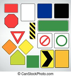 Set of road signs templates. Make your own road sign.