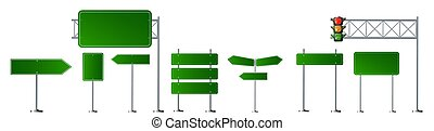Set of road signs. Vector illustration isolated on a white background.