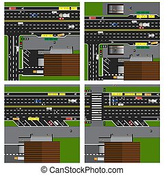 Set of roads, highways, streets, with a shop. Crossroads. Bus stop. With different cars, parking. Top view of the highway. illustration