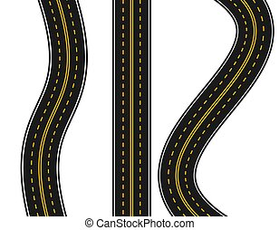 Set of roads with various white and yellow markings on a white background. Straight and with turns. illustration.