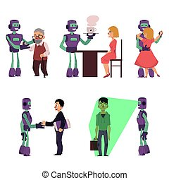 Set of robot assistants helping people