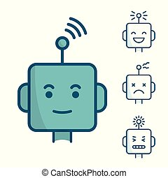 Set of robot face icons. Different expressions