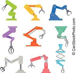 Set of robotic hands. Vector illustration on white background.