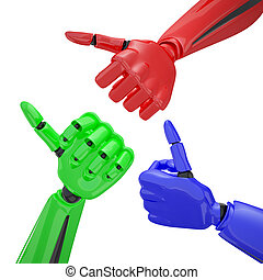 Set of robotic hands with thumb up