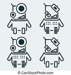 Set of robots icons in linear style