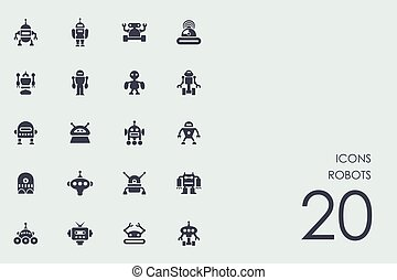 Set of robots icons