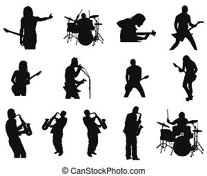 Collection of different rock and jazz silhouettes. Vector illustration.
