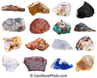 set of rock minerals isolated on white background