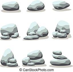 Set of rock vector art illustration