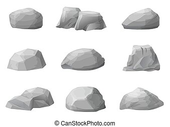 Set of rocks boulders stones