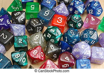 Set of Role Playing Dice on a Wooden Background