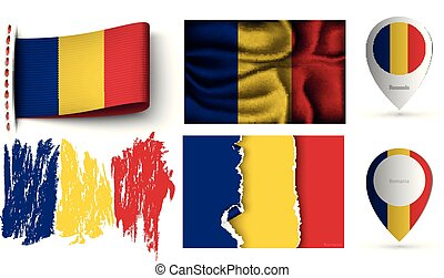 set of romania flags collection isolated