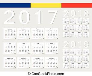 set of romanian 2017 2018 2019 vector calendars