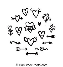 Set of romantic doodles. Hearts, arrows etc.