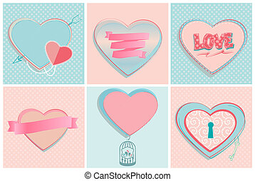 Set of romantic heart shapes