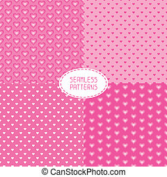 Set of romantic seamless patterns with hearts. Beautiful  vector illustration. Background. Endless texture can be used for printing onto fabric and paper or scrap booking.