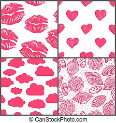 set of romantic seamless patterns with lipsticks prints, doodle