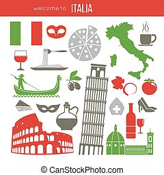 Set of Rome Italy symbols. Italian vector illustrations