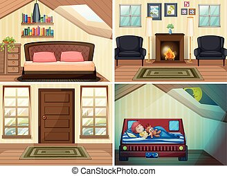 Set of room in the house