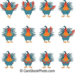 Set of Rooster flat icons2