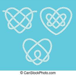 Set of rope hearts decorative knots