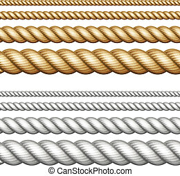 Set of ropes on white - Set of different thickness ropes ...