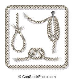 Set of ropes over white, fully editable
