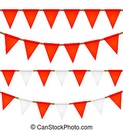 Set of ropes with flags. Elements for your design. Vector illust