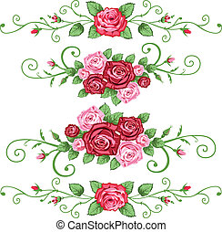 Set of roses banners - Retro roses elements for greetings ...