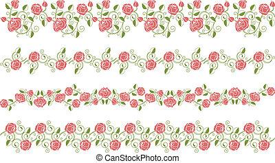 Set of roses borders