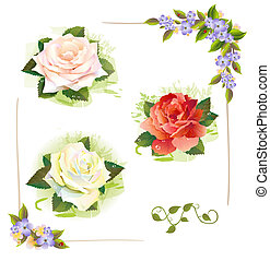 Set of roses. Vintage style. Imitation of watercolor...