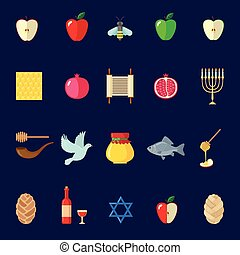 Set of Rosh Hashanah icons in flat style.