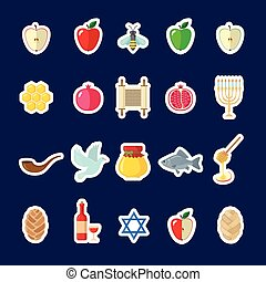 Set of Rosh Hashanah stickers in flat style.