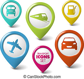 Set of round 3D transport pointers - car, bus, train, plane, gas station