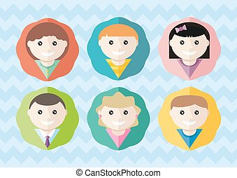 Set of round avatars different boys and girls