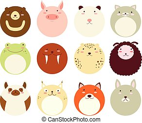 Set of round avatars icons with faces of cute animals -...