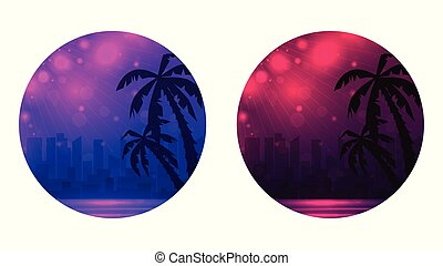 Set of round banner with Evening illustration of a city beach with palm trees.