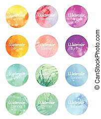 Set of round banners with watercolor