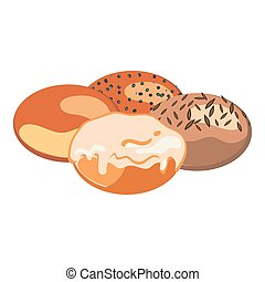 Set of round bun with different toppings on white background. Bakery concept. Vector illustration of bun without anything, with poppy seeds, with sunflower seeds and with glaze in flat design